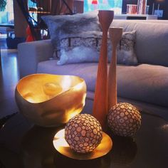 Cosy, original Rolf™ wooden candlesticks in teak and oak by freemover.se Design: Maria L Dahlberg - concrete and copper Instagramphoto