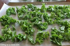 oven baked kale chips - on pan