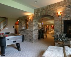 brick in the basement. A great idea that doesn't need to be pulled out and redone if the basement ever floods.