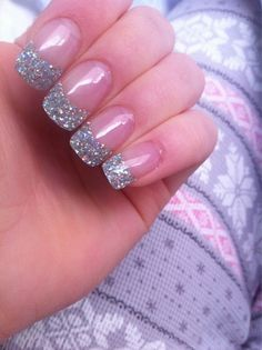 Super sparkly French Manicure! For those who like to to keep it fresh and clean, but still want some glitz :)
