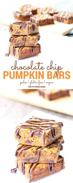 The BEST EVER Paleo Chocolate Chip Pumpkin Protein Bars Recipe! They're gluten free, vegan, soy free and packed with plant protein making them perfect for breakfast or a healthy dessert! Healthy Protein Snacks, Protein Bar Recipes, Healthy Bars, Healthy Dessert Recipes, Brownie Recipes, Snack Recipes, Paleo Recipes, Vegetarian Protein, Pumpkin Recipes