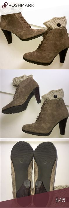 Beautiful Booties Leather By White Mountain These ankle boots are beautiful and in perfect 👌 preloved condition worn once by me while modeling. Leather in beautiful taupe color suede material. The boot socks are not included in this listing just a prop. These boots will not disappoint. Offers appreciated. White Mountain Shoes Ankle Boots & Booties