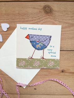 I have machine stitched a little bird onto a square cream card. I have added some hand stamped wording which reads happy mothers day to a very special mum. the card measures 4.5 inches square and comes with a matching envelope and cello wrapped. Blank inside for your own message. Would