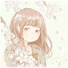 Cherry blossoms Kawaii Art, Kawaii Anime Girl, Cosplay Tumblr, Relaxing Art, Cute Doodles, Mori Girl, Illustration Art, Watercolor, Drawings