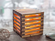 This Wood lamp Wooden lamp Table lamp Rustic light Geometric is just one of the custom, handmade pieces you'll find in our lamps shops. Rustic Table Lamps, Wood Lamps, Lamp Table, Home Decor Lights, Desk Light, Light Table, Rustic Lighting, Loft Lighting, Into The Woods