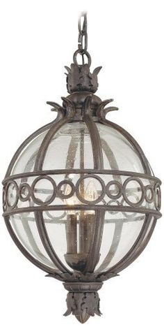 """Campanile Collection 27 1/2"""" High Outdoor Hanging Light by Troy. $856.91. The Campanile outdoor collection from Troy Lighting is bursting with Mediterranean beauty and charm. This spectacular design is crafted from hand-forged iron and features classic acanthus leaf details. The frame, presented in a Campanile bronze finish, surrounds a center of clear seedy glass which gracefully displays the glowing fixtures within. A wonderful design for lighting your outdoor spaces."""