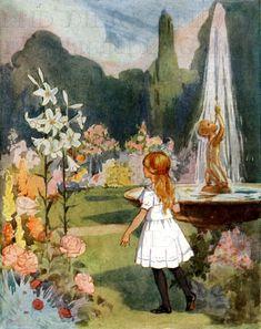 Superlative Garden Alice in Wonderland Vintage Illustration. | Etsy Alice In Wonderland Illustrations, Alice In Wonderland Vintage, Lewis Carroll, Arte Fashion, Inspiration Artistique, Ribbon Cards, Adventures In Wonderland, Through The Looking Glass, Altered Art