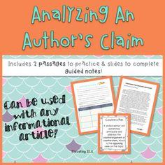 Analyzing An Author's Claim