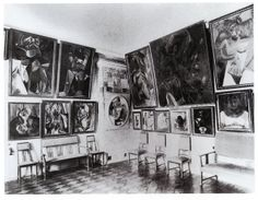 Sergei Shchukin (Stchoukine)'s study, Moscow, with paintings by Pablo Picasso, 1913