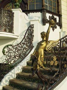 Art Nouveau Staircase at Hanava Pavilion, Prague, Czech Republic