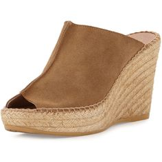 Andre Assous Cici Suede Espadrille Wedge Mule ($169) ❤ liked on Polyvore featuring shoes, camel, wedge heel shoes, platform espadrilles, platform mules, suede espadrilles and camel shoes
