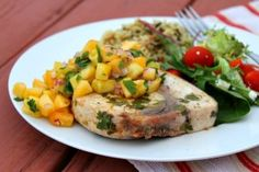 Grilled Swordfish with Pineapple- Peach Salsa | Recipe Girl