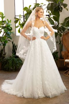 Strapless Lace Ballgown from Beloved by Casablanca Bridal Strapless Sweetheart Neckline, Bridal Gowns, Wedding Dresses, Lace Patterns, Casablanca, Veil, Ball Gowns, Bodice, Tulle