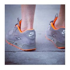Nike Air Max 90 pale gray suede and orange