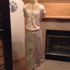 NEW-WHITE HOUS/BLACK MARKET-SIZE 14 BEAUTIFUL SKIRT-PERFECT CONDITION-COLORS OF SILVER, COOPER WITH BLUES AND BROWNS-HAS TAN RIBBON DETAILS-LINED-JUST GORGOUSE White House Black Market Skirts Pencil