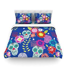 """Kess InHouse Anneline Sophia """"Day of The Dead"""" Blue Aztec King Cotton Duvet Cover, 104 by 88-Inch"""