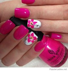 Pretty nail art designs for summer 18 hawaiian flower nails, flower on nails Cute Summer Nail Designs, Cute Summer Nails, Tropical Nail Designs, Summer Toenails, Spring Nails, Summery Nails, Summer Gel Nails, Nail Designs Spring, Pink Gel Nails