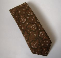 Andre Oliver Brown White Green Neck Tie 100% Silk Floral Paisley Paris New York #AndreOliver #NeckTie