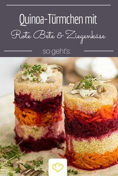 Diese Vorspeise beeindruckt an Weihnachten garantiert alle Gäste: Quinoa-Türmchen mit Rote Bete und Ziegenkäse.