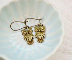 Owl Earrings.Antique Brass Owl Earrings.Owl Jewelry. Adorable Owl Charms Earrings. Brass Owl Kidney Ear Wires