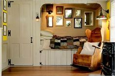 beautiful little sleeping nook. Another example of Lilith's little sleeping space. Perhaps a whole little room, with doors on the sleeping nook, so she can make it a personal parlor. Alcove Bed, Bed Nook, Cozy Nook, Cozy Corner, Cozy Cabin, Cozy Cottage, Cottage Style, Cottage Living, Sleeping Nook