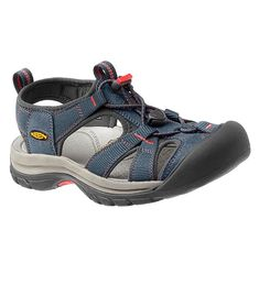 Venice H2 The Venice H2 Midnight Navy/Hot Coral features: Compression molded EVA midsole Hydrophobic mesh lining Metatomical EVA footbed Multi directional lug pattern for increased traction Non-marking rubber outsole with razor siping Razor siping for improved ground traction Secure fit lace capture system Washable polyester webbing upper Sport Sandals, Strappy Sandals, Sandals Outfit, Sketchers Shoes Women, Keen Shoes, Flat Shoes, Women's Shoes, Water Shoes, Slippers
