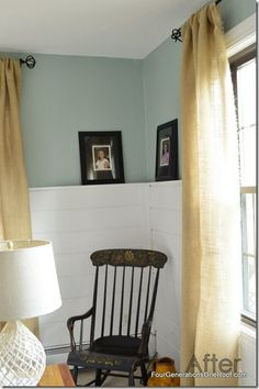 The planks on the wall are painted Benjamin Moore white diamond and the top of the wall is Benjamin Moore Wythe Blue