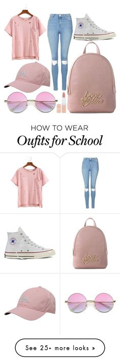 """School Day"" by susanna-trad on Polyvore featuring Topshop, Converse, Love Moschino, adidas and Rimmel"