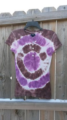 Tie Dye Shirt Women's Violet and Brown Tie by MessyMommasTieDyes
