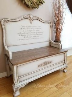 Love is patient headboard bench. We created this farmhouse bench from a 1949 headboard and footboard. Painted in Dixie Belle paint in the color fluff. Antique Headboard, Old Headboard, Headboard Benches, Antique Beds, Headboard Ideas, Headboards, Refurbished Furniture, Paint Furniture, Repurposed Furniture