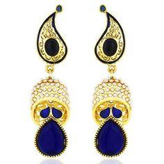 Viyari Dancing Blue and White Paisley Dangle Drop Earrings