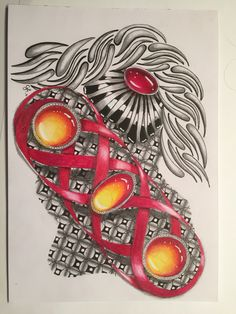ZIA with Gems. Drawing made by Gemma van der Horst - NL. Zentangle type Drawings in my album