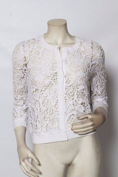 Rondina White Embroidered Lace Button Up Cardigan Sweater Sz S M L $295 Nwt