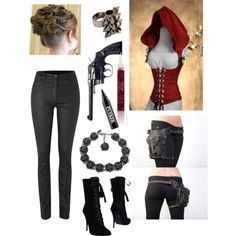 Little Red Riding Hood: Werewolf Hunter by actuallyakitten on Polyvore featuring Mary Portas, Balmain, tuleste market, Mawi, Stila, Ardency Inn and Damsel in a Dress