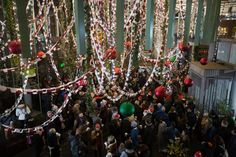 Borough Market Unveils UK's Longest Christmas Paperchain -  The UK's longest paper chain for Borough Market's Christmas lights in London. PRESS ASSOCIATION Photo. Picture date: Wednesday November 30, 2016. The paperchain, which is 472 meters in length, is made up of heartfelt messages from the market's customers, Photo credit should read: David Parry/PA Wire