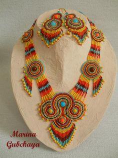 "комплект ""Саванна"" повтор на заказ Cow Skull, Beaded Jewelry Patterns, Neck Piece, Ethnic Jewelry, Beaded Embroidery, Seed Beads, Beadwork, Beading, Crochet Necklace"
