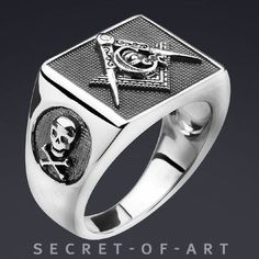 9a54e31113d7 Men Masonic Ring Silver 925 Sterling Freemason Skull Compass Square size  8-13  SecretofArt