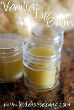 Homemade Vanilla Lip Balm:          2 T. beeswax      2 T. shea butter      2 T. coconut oil      essential oil (I used Vanilla) by jenna