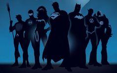 superheroes, siluetas, los comicos