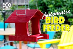 Automatic bird feeder made from scrap wood and a plastic soda bottle.