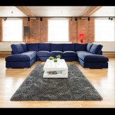 Stunning Quality Modern U Shape Sofa In Dark Blue