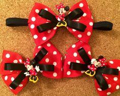 Minnie Mouse Hair Bow & Headband by GotBowsBowtique22 on Etsy