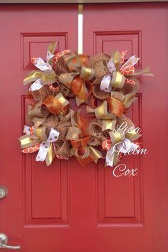 Square deco mesh fall wreath with gold ribbon