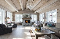 Tundra – 190 kvm - Drømmehytta AS House Design, House, Country Interior, Luxury Cabin, House Interior, Beautiful House Plans, Interior Design, Log Home Interior, Rustic House