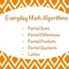 This Notebook lesson includes 5 types of algorithms taught in Everyday Math. These specific algorithms correlate with 5th grade Units 2 and 4 but a...