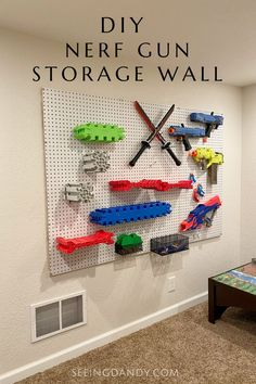 Nerf Gun Storage, Pegboard Organization, Playroom Storage, Wall Storage, Diy Storage, Basement Storage, Paper Storage, Playroom Ideas, Basement Ideas
