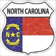North Carolina State Flag Highway Shield Metal Sign