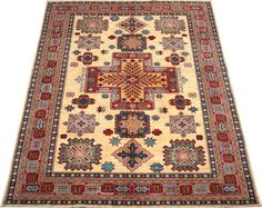 Today's Kazak is a modern shape of old Caucasian rugs which strictly adheres to traditional design elements of the Caucasus. It has elements such as the stepped hooked polygons, geometrical medallions and rosettes, presented in more stylized manner and with a new dimension.  http://www.alrug.com/4870