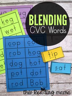 Use successive blending with these free blending cards. They're great for helping your struggling or beginning readers with blending CVC words. Reading Fluency, Reading Intervention, Kindergarten Reading, Reading Strategies, Teaching Reading, Guided Reading, English Kindergarten, Kindergarten Phonics, Preschool