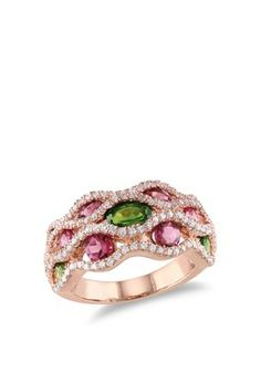 Multi-Shape Tourmaline & CZ Wavy Row Ring